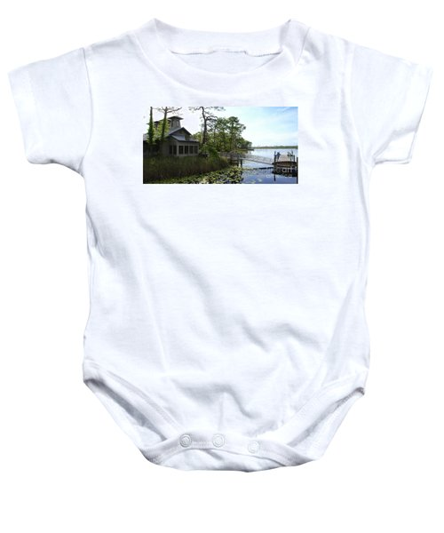 The Boathouse At Watercolor Baby Onesie by Megan Cohen