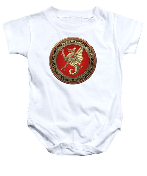 The Great Dragon Spirits - Gold Sea Dragon Over White Leather Baby Onesie