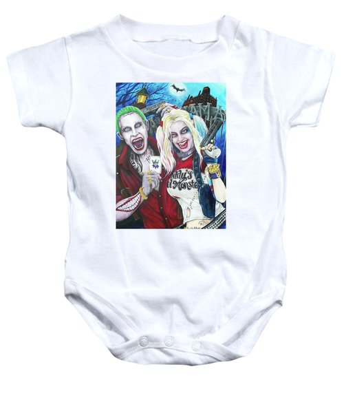 The Joker And Harley Quinn Baby Onesie by Michael Vanderhoof
