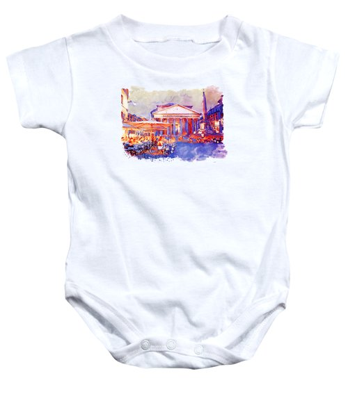 The Pantheon Rome Watercolor Streetscape Baby Onesie