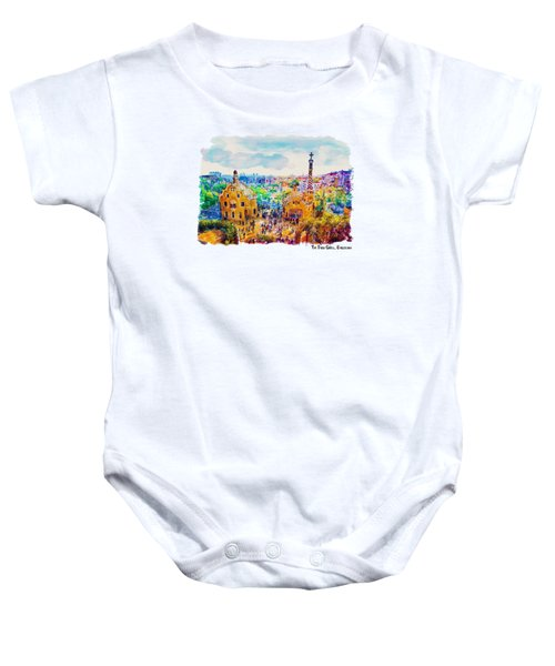 Park Guell Barcelona Baby Onesie by Marian Voicu