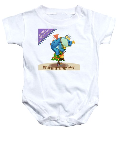 The Sloth Dragon Monster Comes To Wish You Merry Christmas Baby Onesie by Next Mars