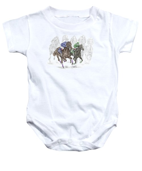 The Thunder Of Hooves - Horse Racing Print Color Baby Onesie