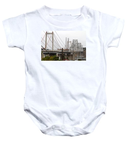 The Two Carquinez Bridges At Crockett And Vallejo California . Aka Alfred Zampa Memorial Bridge . 7d8919 Baby Onesie