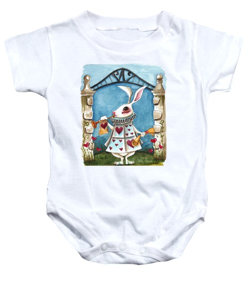 The White Rabbit Announcing Baby Onesie by Lucia Stewart