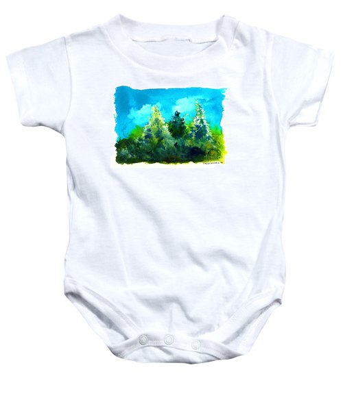Three Evergreens Baby Onesie