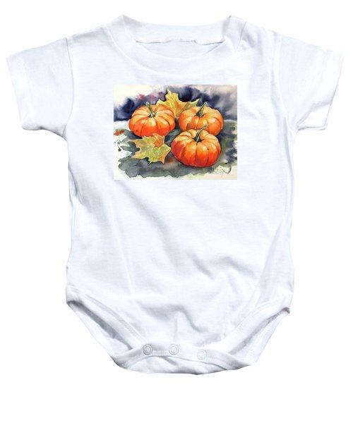 Three Pumpkins Baby Onesie