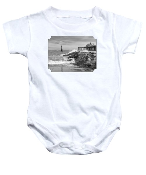 Tide's Turning - Black And White - Southwold Pier Baby Onesie by Gill Billington