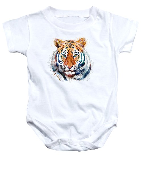 Tiger Head Watercolor Baby Onesie by Marian Voicu