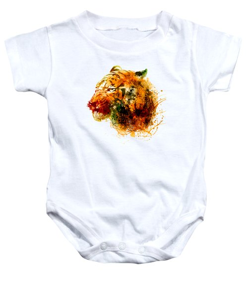Tiger Side Face Baby Onesie by Marian Voicu