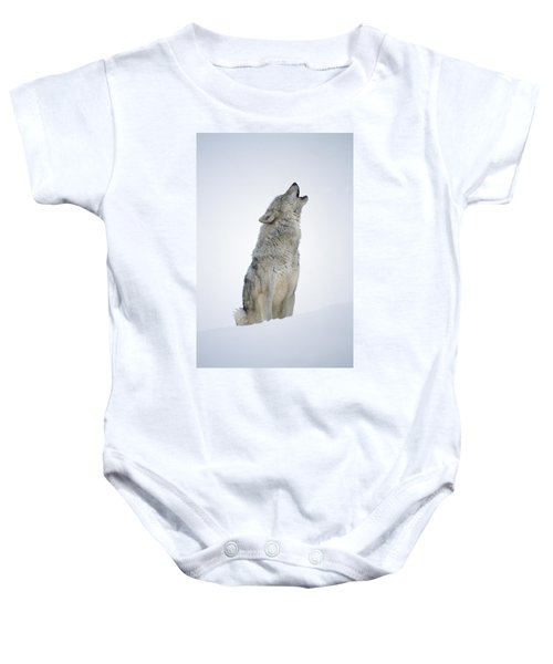 Timber Wolf Portrait Howling In Snow Baby Onesie