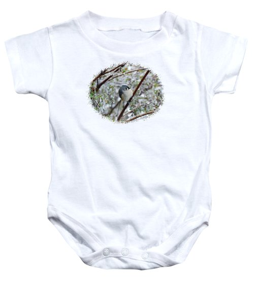 Titmouse On Snowy Branch Baby Onesie by Larry Bishop