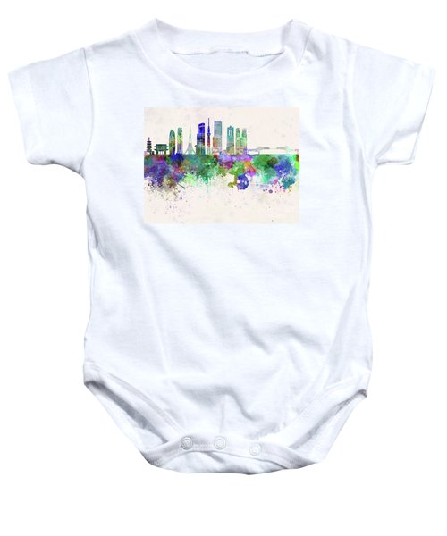 Tokyo V3 Skyline In Watercolor Background Baby Onesie by Pablo Romero