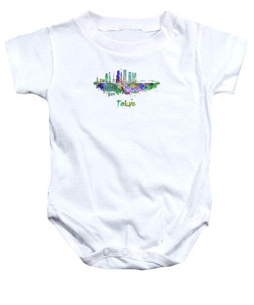 Tokyo V3 Skyline In Watercolor Baby Onesie