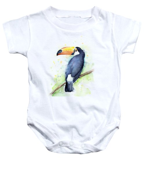 Toucan Watercolor Baby Onesie