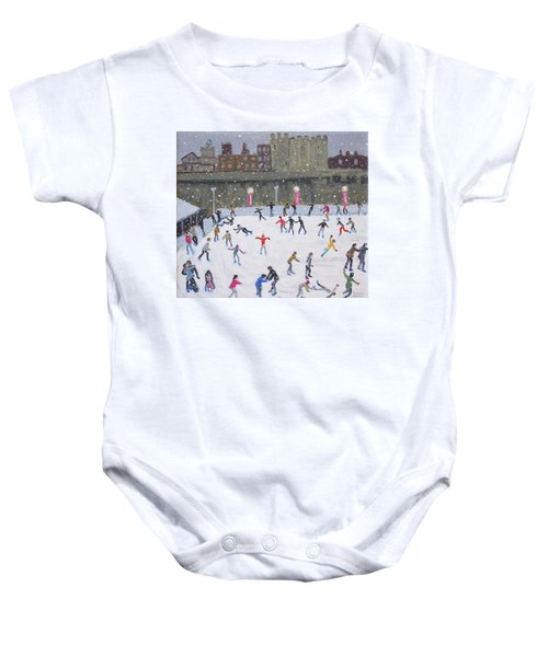Tower Of London Ice Rink Baby Onesie by Andrew Macara