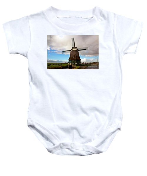 Traditional Dutch Windmill Near Volendam  Baby Onesie