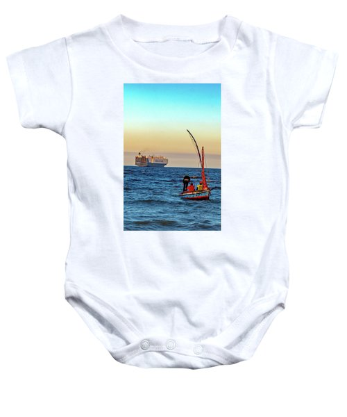 Traditional Fishing And The Container Ship Baby Onesie