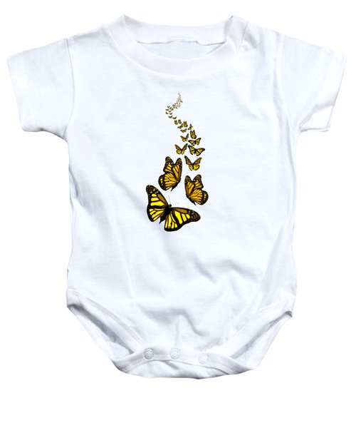 Trail Of The Yellow Butterflies Transparent Background Baby Onesie