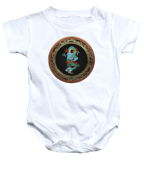 Treasure Trove - Turquoise Dragon Over White Leather Baby Onesie by Serge Averbukh