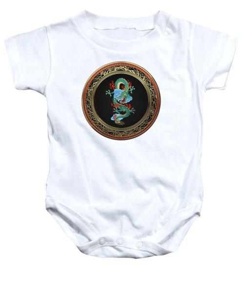 Treasure Trove - Turquoise Dragon Over White Leather Baby Onesie