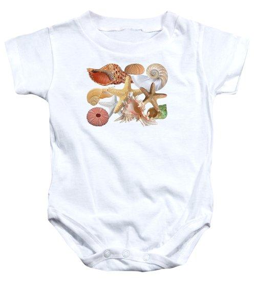 Treasures Of The Deep On White Baby Onesie