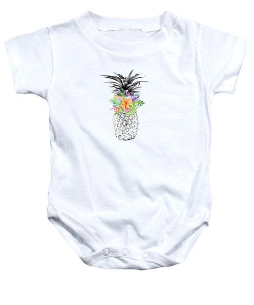 Tropical Pineapple Flowers Aqua Baby Onesie by Dushi Designs