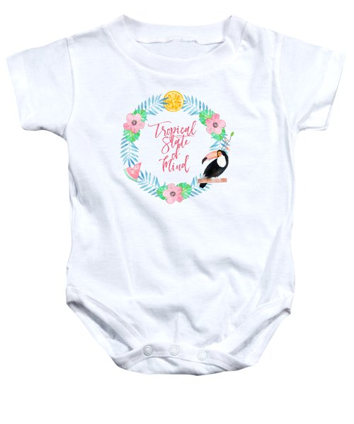 Tropical State Of Mind Pink Text Baby Onesie