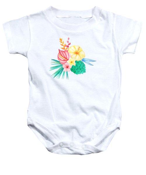 Tropical Watercolor Bouquet 2 Baby Onesie