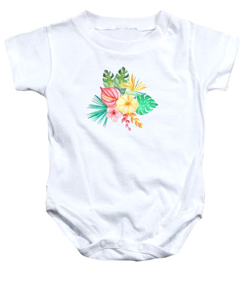 Tropical Watercolor Bouquet 6 Baby Onesie