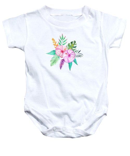 Tropical Watercolor Bouquet 78 Baby Onesie