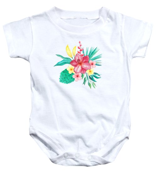 Tropical Watercolor Bouquet 9 Baby Onesie