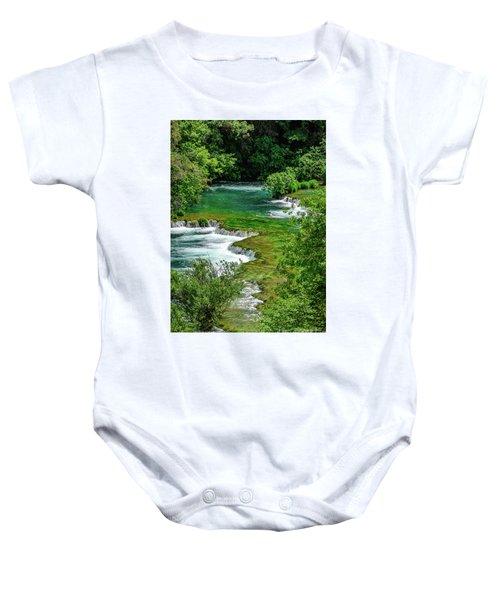 Turqouise Waterfalls Of Skradinski Buk At Krka National Park In Croatia Baby Onesie