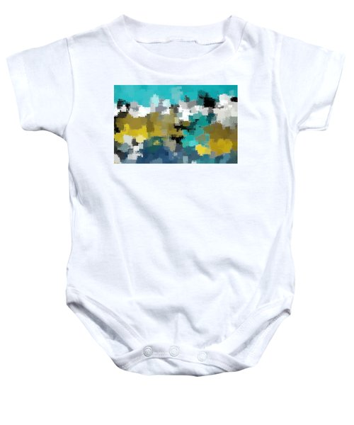 Turquoise And Gold Baby Onesie