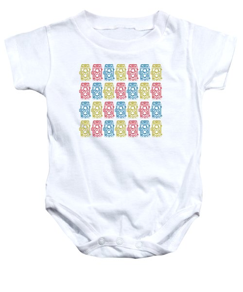 Twin Lens Camera Pattern Baby Onesie