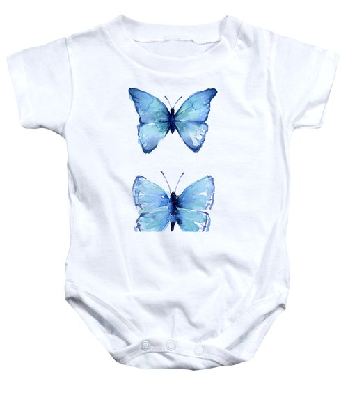 Two Blue Butterflies Watercolor Baby Onesie