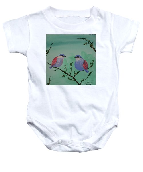 Two Chickadees Baby Onesie