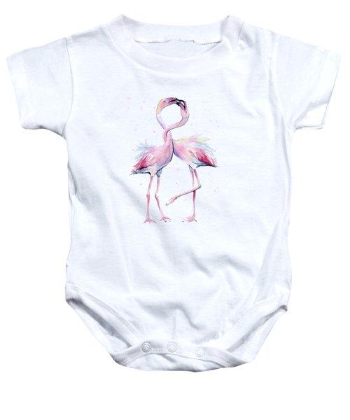Two Flamingos Watercolor Famingo Love Baby Onesie