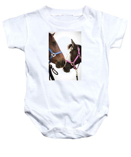Two Horses Nose To Nose In Color Baby Onesie