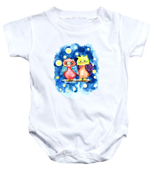 Two Owls And A Starry Night Baby Onesie