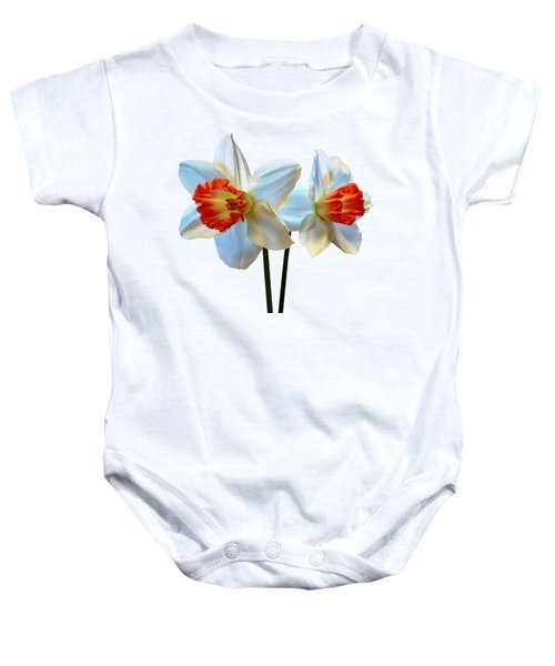 Two White And Orange Daffodils Baby Onesie