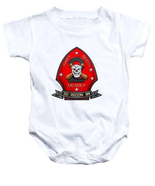 U S M C  2nd Reconnaissance Battalion -  2nd Recon Bn Insignia Over White Leather Baby Onesie