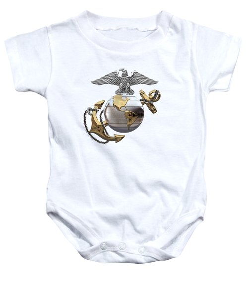 U S M C Eagle Globe And Anchor - C O And Warrant Officer E G A Over White Leather Baby Onesie