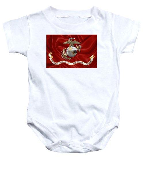 U. S.  Marine Corps - U S M C Eagle Globe And Anchor Over Corps Flag Baby Onesie