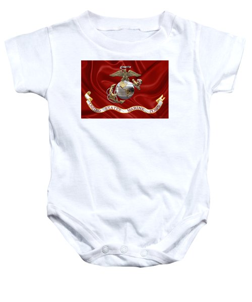 U. S.  Marine Corps - U S M C Eagle Globe And Anchor Over Corps Flag Baby Onesie