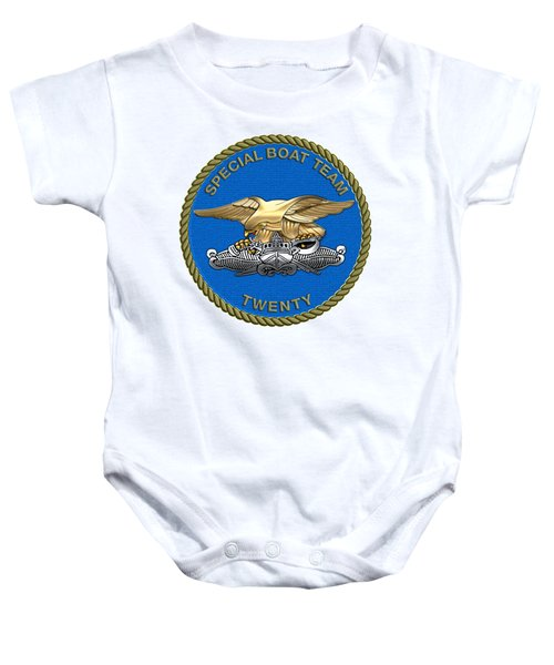 U. S. Navy S W C C - Special Boat Team 20   -  S B T 20   Patch Over White Leather Baby Onesie