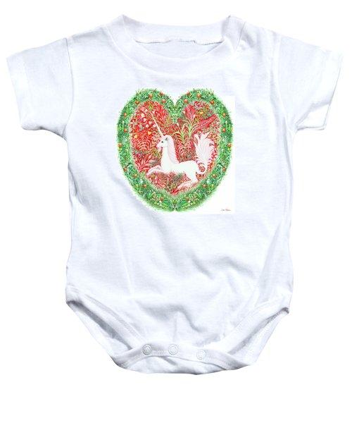 Unicorn Heart With Millefleurs Baby Onesie