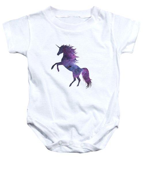 Unicorn In Space-transparent Background Baby Onesie