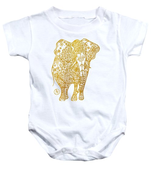 Unique Golden Elephant Art Drawing By Megan Duncanson Baby Onesie by Megan Duncanson