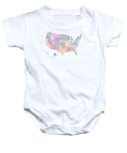 United States Musicians Map Baby Onesie by Trudy Clementine